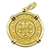 Portuguese Brazil 4000 Reis dated 1776, with cross and crown in 14k gold pendant.
