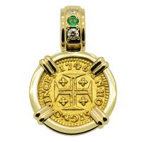 Portuguese 400 Reis dated 1746, in 14k gold pendant with diamonds and emerald.