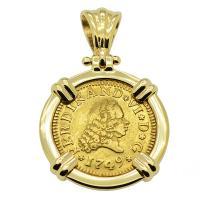 Spanish 1/2 Escudo dated 1749, in 14k gold pendant.