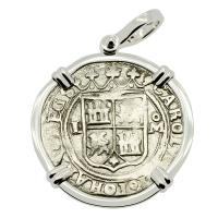 Colonial Spanish Mexico, Johanna and Charles 1 real 1548-1556, in 14k white gold pendant.