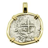 Colonial Spanish Peru, King Charles II one real dated 1695, in 14k gold pendant.