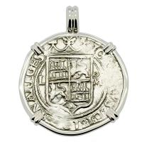 Colonial Spanish Mexico, Johanna and Charles 2 reales 1548-1556, in 14k white gold pendant.