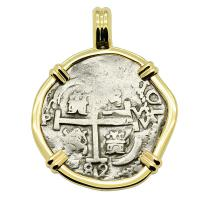 Colonial Spanish Peru, King Charles II two reales dated 1682, in 14k gold pendant.