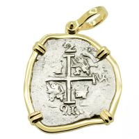 Colonial Spanish Peru, King Charles II two reales dated 1691, in 14k gold pendant.