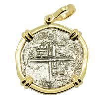 Grade Two Spanish 2 reales 1586-1590, in 14k gold pendant, 1622 Shipwreck Florida Keys.