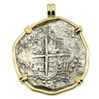 Grade One Spanish 8 reales 1618-1621, in 14k gold pendant, 1622 Shipwreck Florida Keys.
