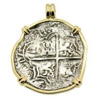 Grade Three Spanish 8 reales dated 1617, in 14k gold pendant, 1622 Shipwreck Florida Keys.