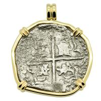 Spanish 8 reales 1622-1629, in 14k gold pendant, 1641 Shipwreck Silver Shoals Dominican Republic.