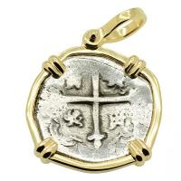 Spanish 2 reales circa 1634-1641, in 14k gold pendant, 1641 Shipwreck Silver Shoals Dominican Republic.