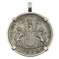 British 10 cash dated 1808 in 14k white gold pendant, 1809 British East Indiaman Shipwreck