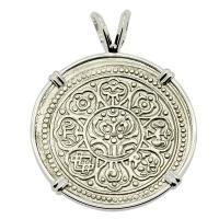 Buddhist Tibetan 1850-1880's, Ga-Den Tanka in 14k white gold pendant.