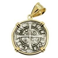 Barcelona, Spain 1291-1327, King James II dinero in 14k gold pendant.