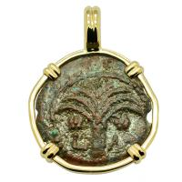 Holy Land AD 6 - 12, Biblical Widow's Mite in 14k gold pendant.