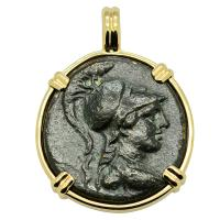 Greek 88-40 BC, Athena & Eagle bronze coin in 14k gold pendant.