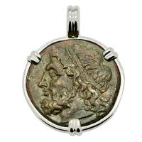 Greek 261-240 BC, Poseidon and Trident Tetras in 14k white gold pendant.
