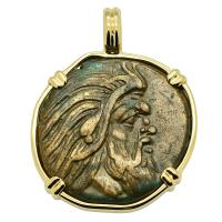 Greek 310 - 304 BC, Pan and Griffin bronze coin in 14k gold pendant.