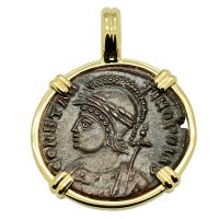 Roman Empire AD 332-333, Constantinopolis and Victory nummus in 14k gold pendant.