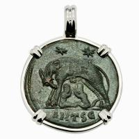 Roman Empire AD 330 - 336, She-Wolf Suckling Twins nummus in 14k white gold pendant.