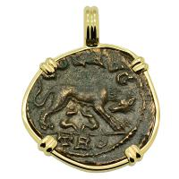 Roman Empire AD 250-268, She-Wolf Suckling Twins and Tyche coin in 14k gold pendant.