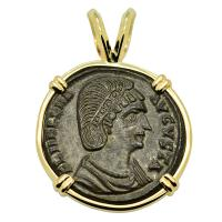 Roman Empire AD 327–329, Saint Helena follis in 14k gold pendant.