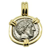 Greek 359-336 BC, King Philip II Apollo and Horseman 1/5 tetradrachm coin in 14k gold pendant.