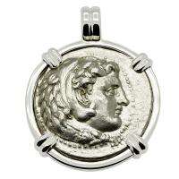 Greek 325-323 BC Lifetime Issue, Alexander the Great tetradrachm in 14k white gold pendant.
