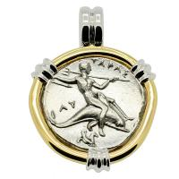 Greek - Italy 281-272 BC, Taras riding Dolphin and Horseman nomos in 14k white & yellow gold pendant.