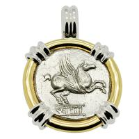 Roman Republic 90 BC, Pegasus and Bacchus denarius in 14k white and yellow gold pendant.