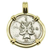 Roman Republic 120 BC, Janus and Roma denarius in 14k gold pendant.