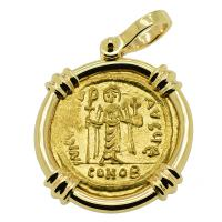 Byzantine AD 603-607, Angel and Emperor Phocas gold solidus in 14k gold pendant.