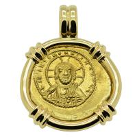 Byzantine 1042-1055, Jesus Christ and Constantine IX Tetarteron in 14k gold pendant.