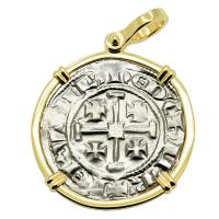 Cyprus 1285-1306, Henry II, last ruling King of Jerusalem, Gros Grand Crusader coin in 14k gold pendant.