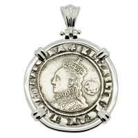 English 1576, Elizabeth I sixpence in 14k white gold pendant.