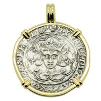English King Henry VI 1430-1434, groat in 14k gold pendant.