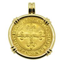 French King Charles VIII Ecu Pendant