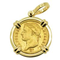 French Emperor Napoleon 20 Francs dated 1812 in 14k gold pendant.