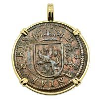 Spanish 8 maravedis dated 1604, in 14k gold pendant.