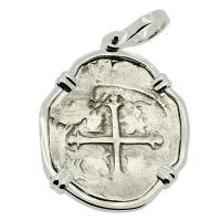 Colonial Spanish Mexico 2 reales 1608-1610, in 14k white gold pendant.