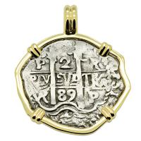 Colonial Spanish Peru, King Charles II two reales dated 1689, in 14k gold pendant.