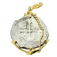 Spanish 4 reales 1618-1621, in 14k gold anchor pendant, 1622 Portuguese Shipwreck, Mozambique, Africa.