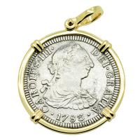 Spanish 2 reales dated 1783 in 14k gold pendant, The 1784 Shipwreck that Changed America.