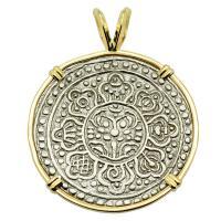 Buddhist Tibetan 1850-1880's, Ga-Den Tanka in 14k gold pendant.