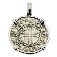 Antioch 1163-1188, Crusader Cross denier in 14k white gold pendant.