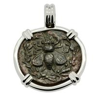 Greek Ephesus 202-133 BC, Bee & Stag bronze coin in 14k white gold pendant.