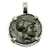 Greek 196-146 BC, Athena and Horse bronze coin in 14k white gold pendant.