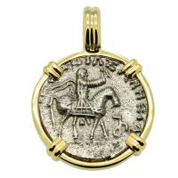 Greek 35-12 BC, King Azes II on horseback and Zeus drachm in 14k gold pendant.