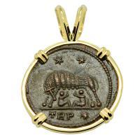 Roman Empire AD 330 - 336, She-Wolf Suckling Twins nummus in 14k gold pendant.