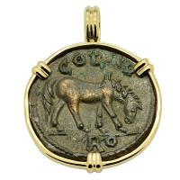 Roman Empire AD 250-268, Horse and Tyche coin in 14k gold pendant.