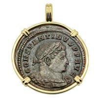 Roman Empire AD 315–317, Constantine and Sol follis in 14k gold pendant.