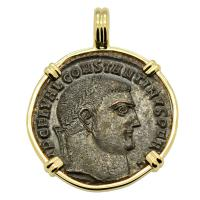 Roman Empire AD 310–313, Constantine and Jupiter follis in 14k gold pendant.